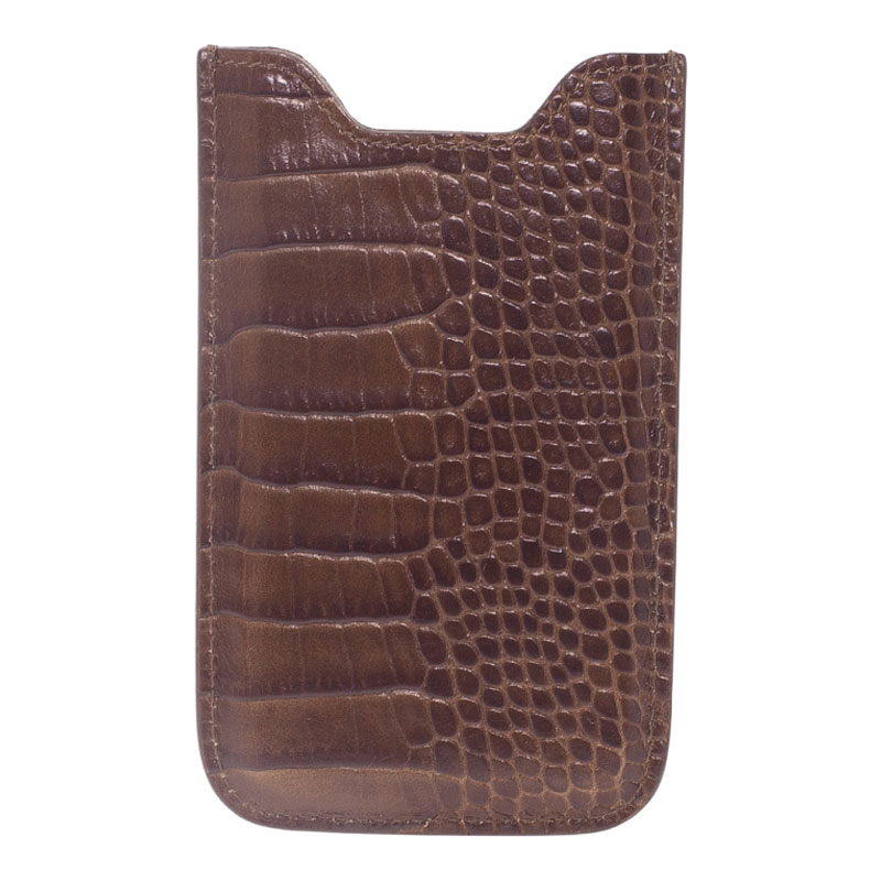 Montblanc Brown Croc Embossed Leather Meisterstuck iPhone 4/4S Case