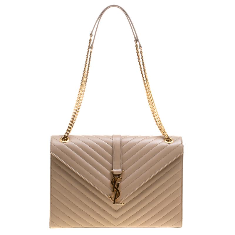3f9261461884 Saint Laurent Light Brown Matelasse Leather Cassandre Shoulder Bag. nextprev.  prevnext ...