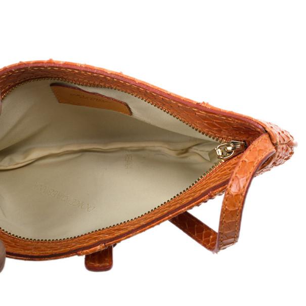 Dolce and Gabbana Orange Snakeskin Clutch