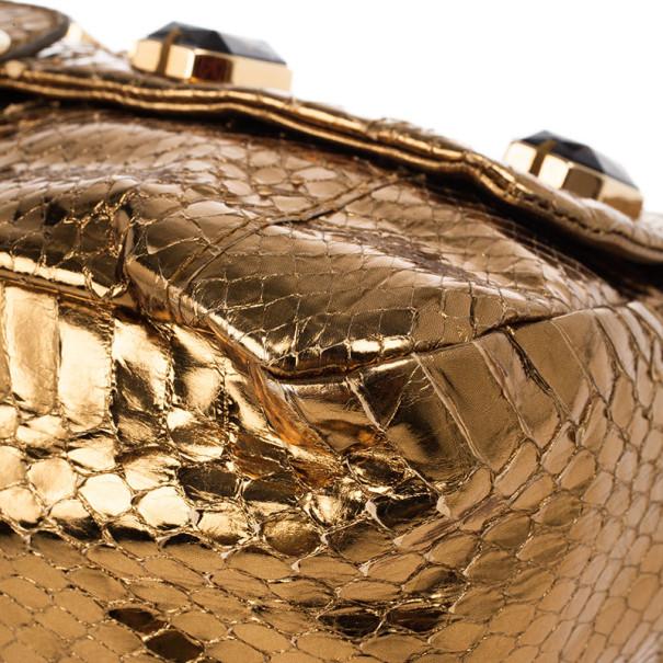 Prada Bronze Snakeskin Jeweled Clutch
