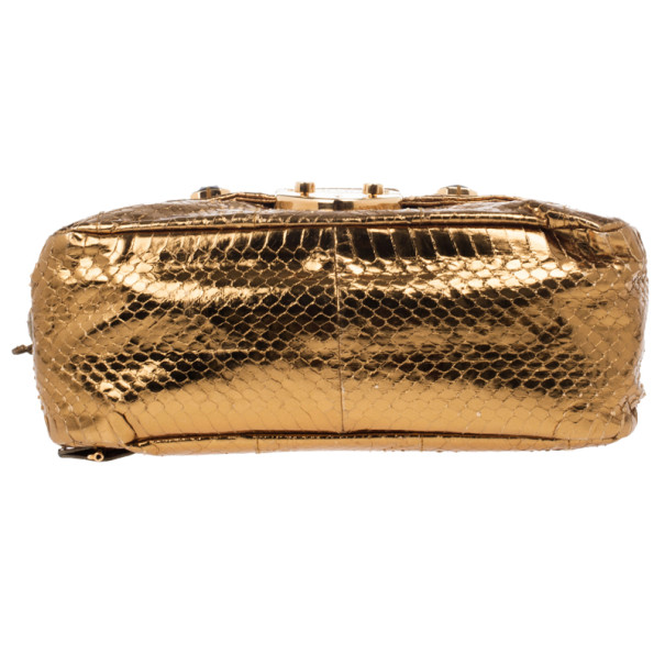 Prada Bronze Snakeskin Jeweled Clutch