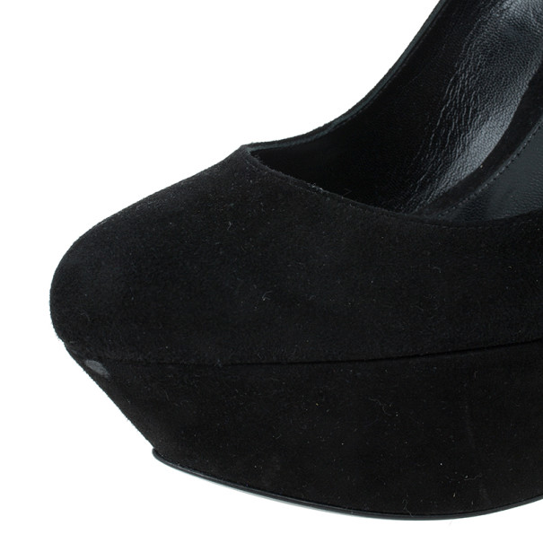 Alexander McQueen Black Suede Armadillo Wedge Pumps Size 40