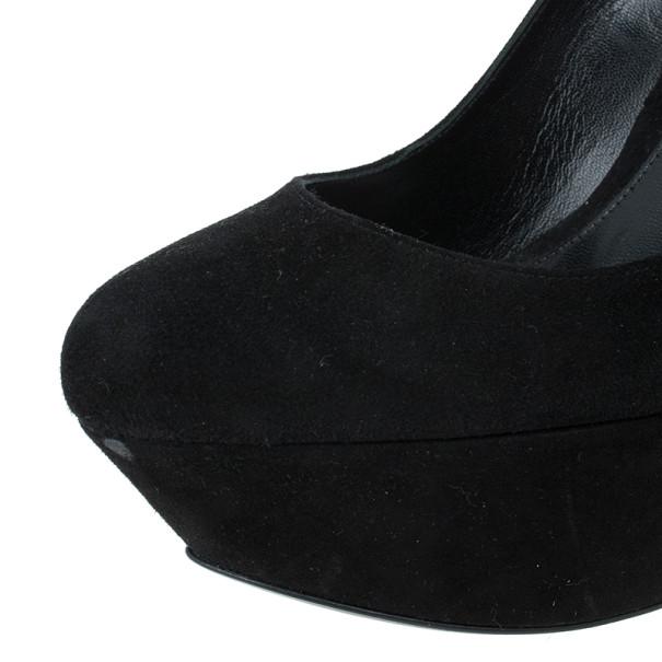 Alexander McQueen Black Suede Armadillo Wedge Pumps Size 40