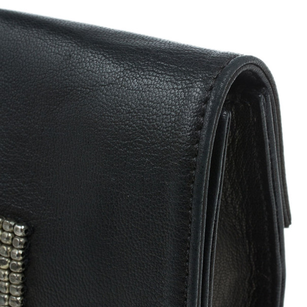 Chloe Black Leather Studded Clutch