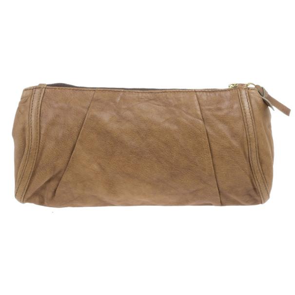 Chloe Brown Leather Embellished Clutch
