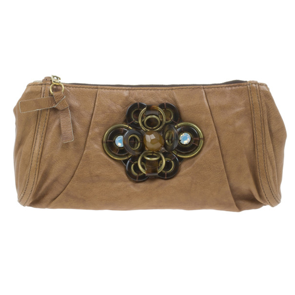 Chloe Brown Leather Embellished Clutch