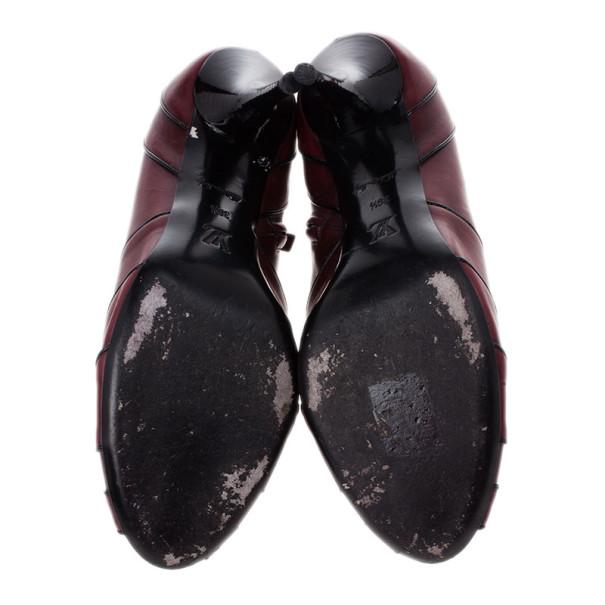 Louis Vuitton Purple Leather Marlene Peep Toe Ankle Boots Size 39.5
