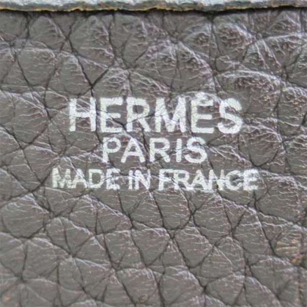 Hermes Brown Leather Traurillon Clemence Evelyne Shoulder Bag TGM