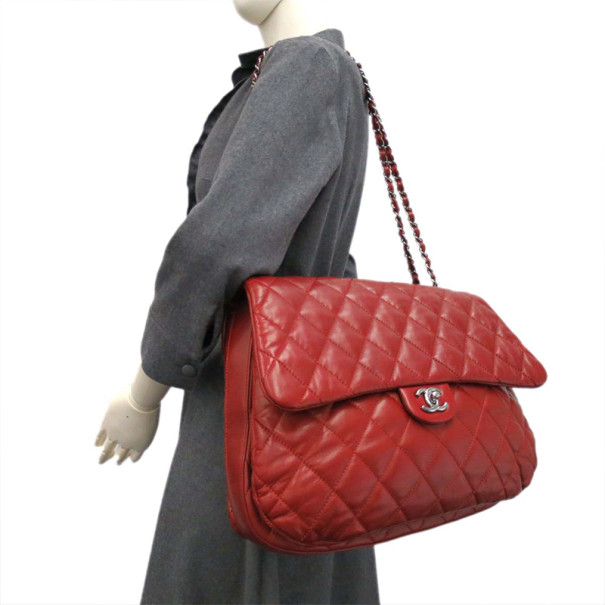 Chanel Red Leather Single Flap Bubble Bag