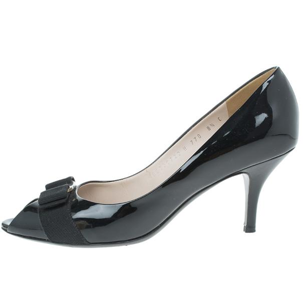 Salvatore Ferragamo Black Patent Vara Bow Peep Toe Pumps Size 39