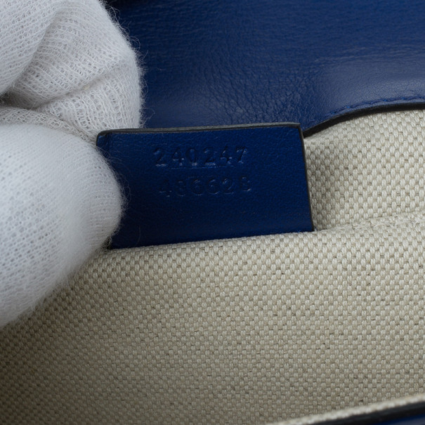Gucci Blue Patent Leather Maxi Envelope Clutch