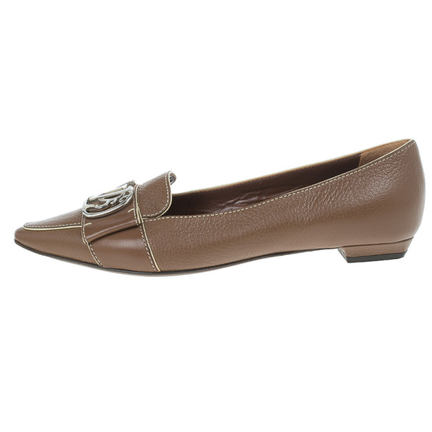 Louis Vuitton Brown Leather Pointed Toe Ballet Flats Size 36.5