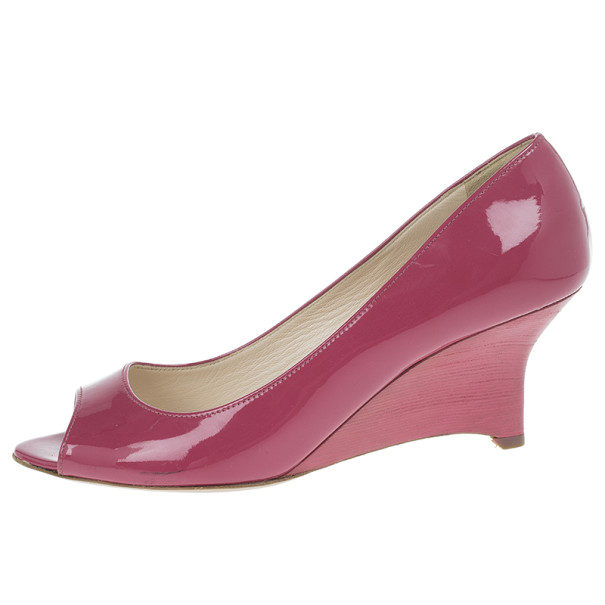 Prada Fuchsia Patent Leather Peep Toe Wedges Size 38