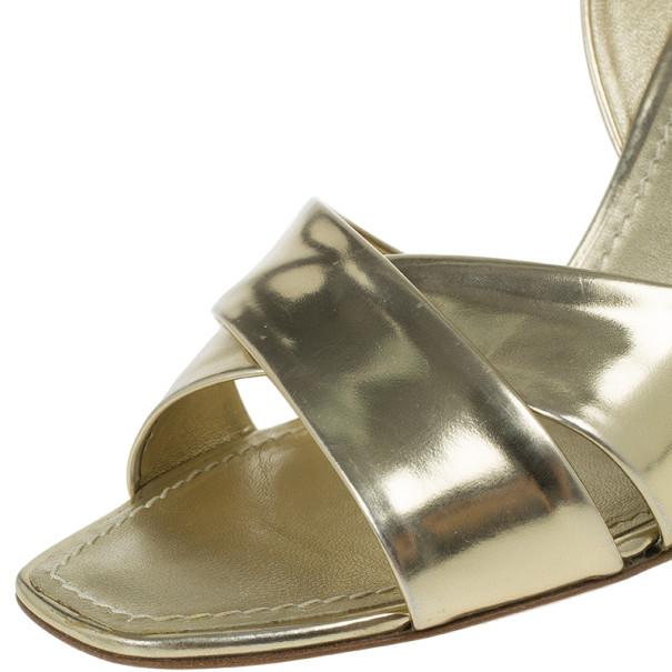 Louis Vuitton Gold Leather Santa Barbara Criss Cross Sandals Size 36.5