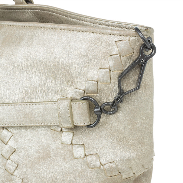 Bottega Veneta Mineral Distressed Metallic Large Leather Tote Bag