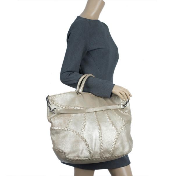 Bottega Veneta Mineral Distressed Metallic Large Leather Tote Bag