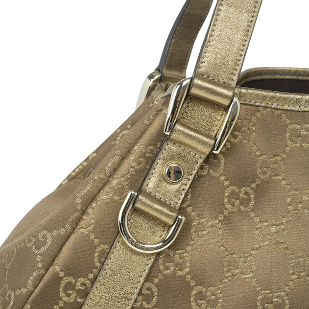 Gucci Gold Metallic Monogram Abbey D-Ring Tote