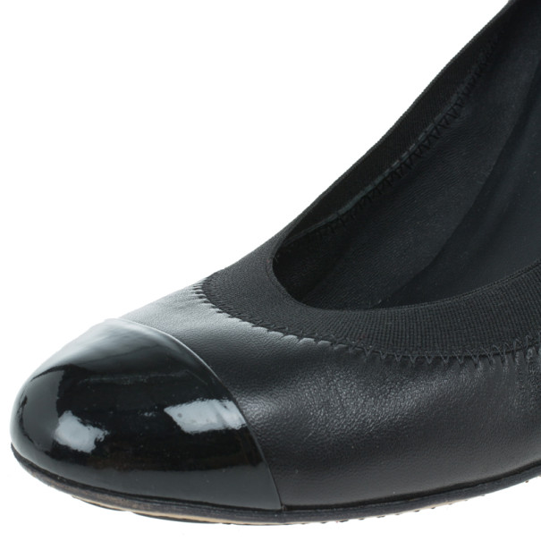 Chanel Black Leather Elastic Ballet Pumps Size 39