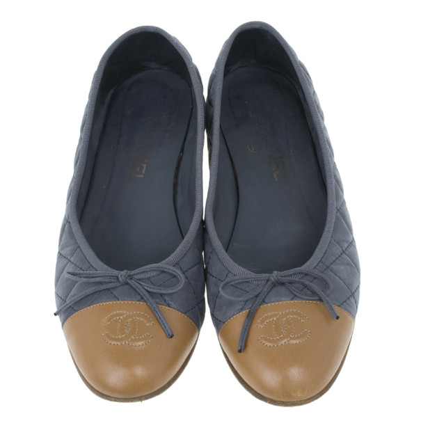 Chanel Two Toe Quilted Leather CC Ballet Flats Size 39
