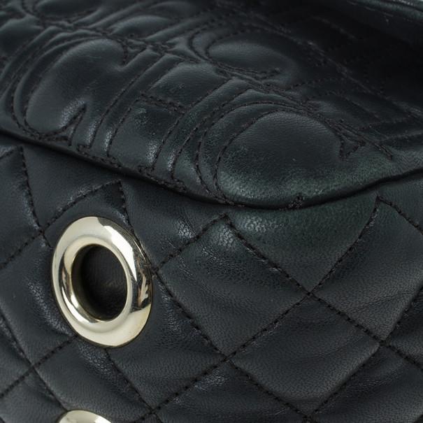 Carolina Herrera Black Leather Monogram Shoulder Bag