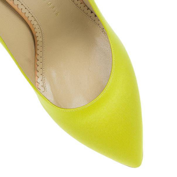 Charlotte Olympia Yellow Satin Debonaire Platform Pumps Size 38.5