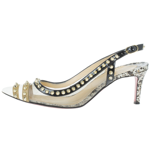 Christian Louboutin Manovra Studded Leather and PVC Slingback Sandals Size 39