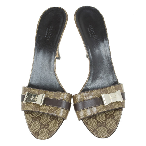 Gucci Guccissima Crystal Bow Slides Size 38.5