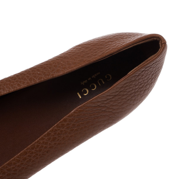 Gucci Brown Leather Ride Ballet Flats Size 39