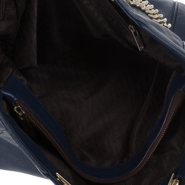 Carolina Herrera Navy Blue Leather Tote