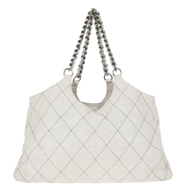 Chanel White Lambskin Hobo