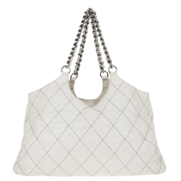 Chanel White Lambskin Hobo