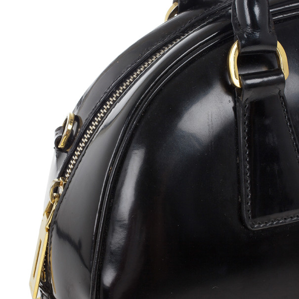 Prada Black Patent Leather Dome Bag