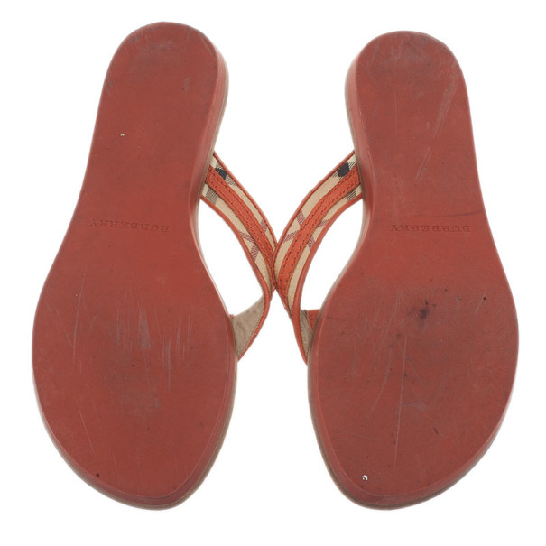 Burberry Orange Check Canvas and Leather Thong Sandals Size 40