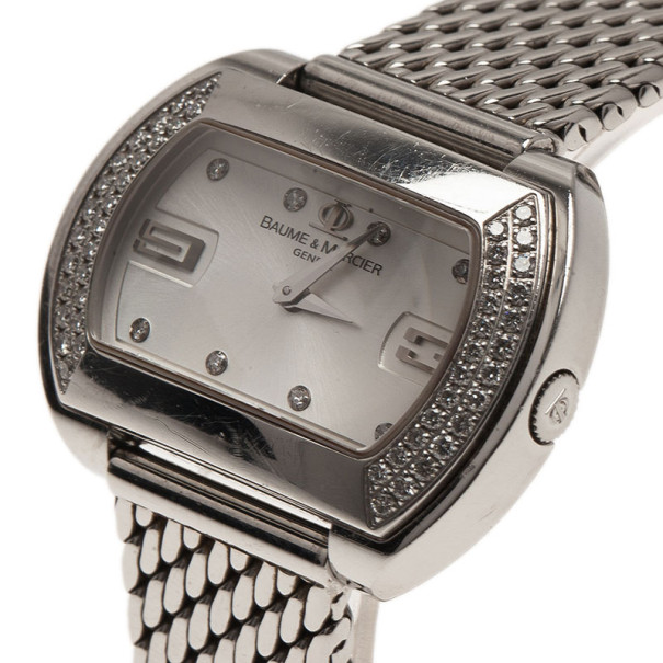 Baume & Mercier Silver Stainless Steel Hampton Square Women's Wristwatch 33MM