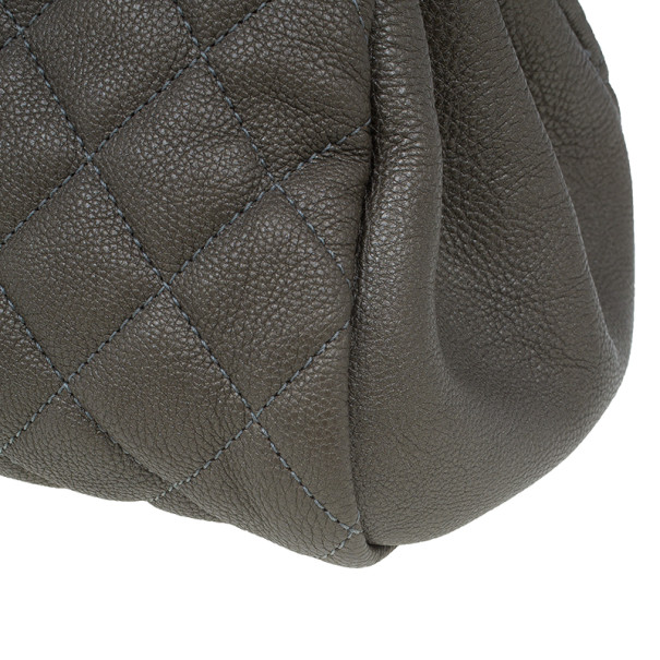 Chanel Olive Green Quilted Caviar Just Mademoiselle Bowling Bag