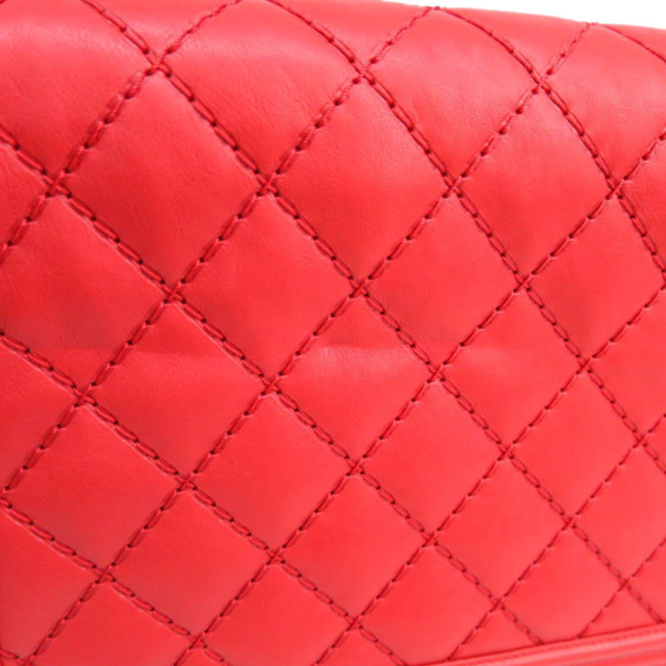 Chanel Red Lambskin Shoulder Boy Bag