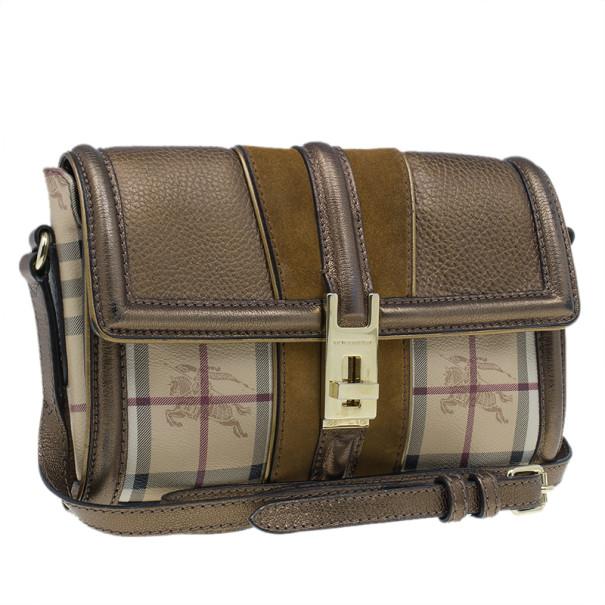 Burberry Beige Leather and Canvas Haymarket Crossbody Bag