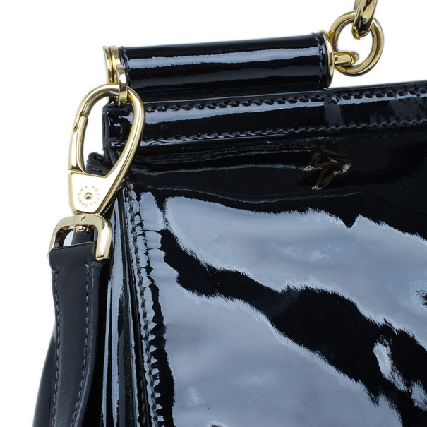 Dolce and Gabbana Black Patent Leather Large Miss Sicily Top Handle Satchel