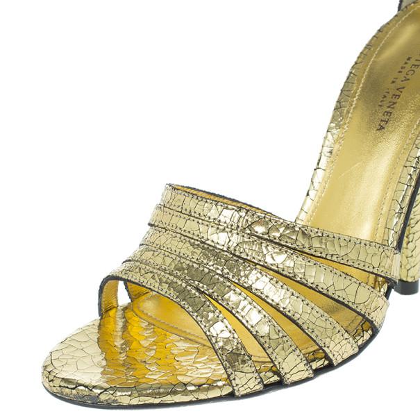 Bottega Veneta Gold Crackled Leather Metallic Ankle Strap Sandals Size 36