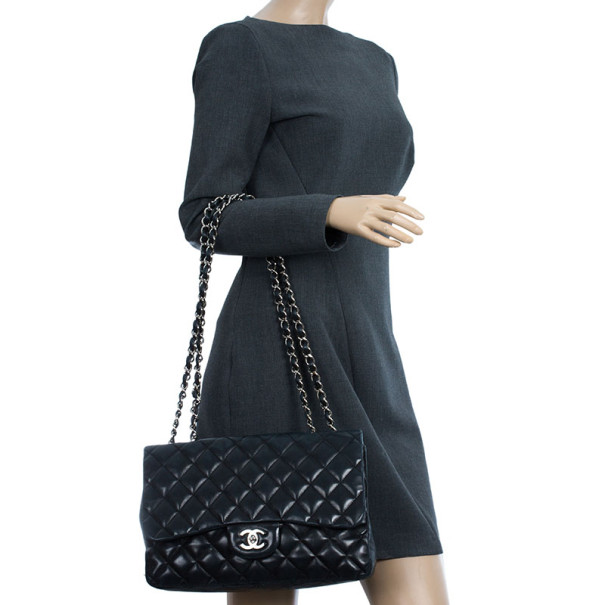 Chanel Black Lambskin Classic Jumbo Flap Bag