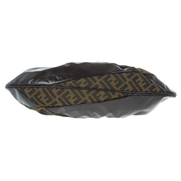 Fendi Patent Leather and Zucca Print Mix Hobo