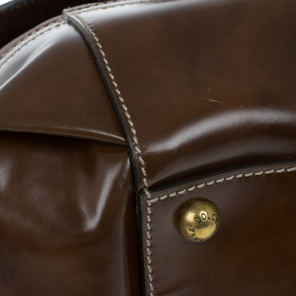 D and G Brown Leather Boston Bag