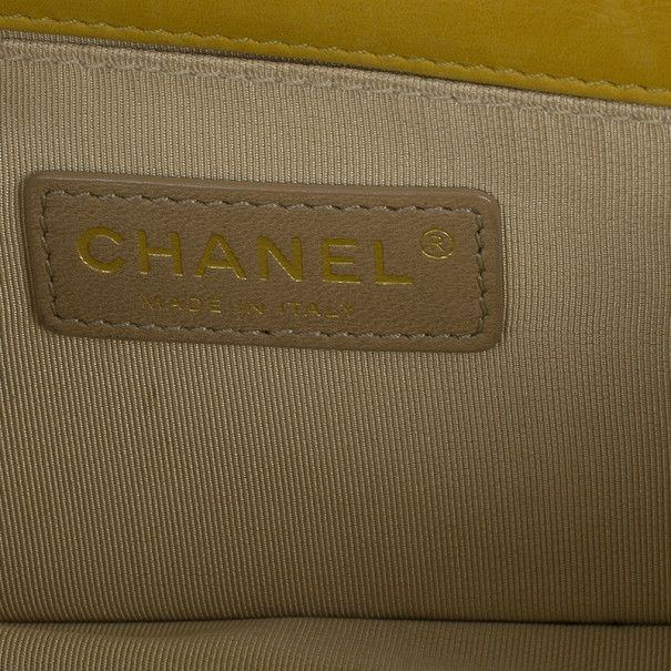 Chanel Yellow Lambskin Chevron Mini Flap Bag