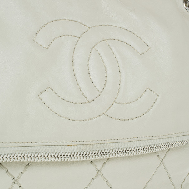 Chanel Off White CC Fold over Flap Bag
