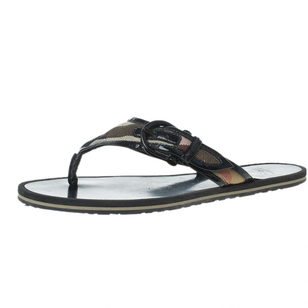 Burberry Novacheck Buckle Thong Sandals Size 36.5