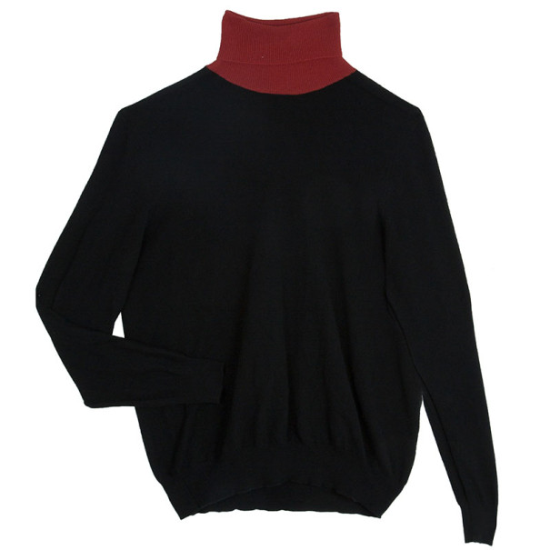 Alexander McQueen Black Cashmere Wool Contrast Rollneck Jumper XL