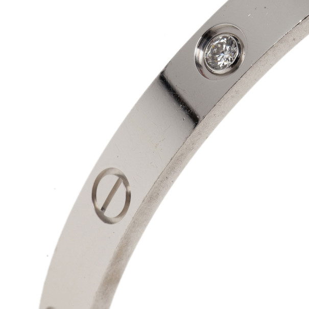 Cartier Love 4 Diamonds White Gold Bracelet 17CM
