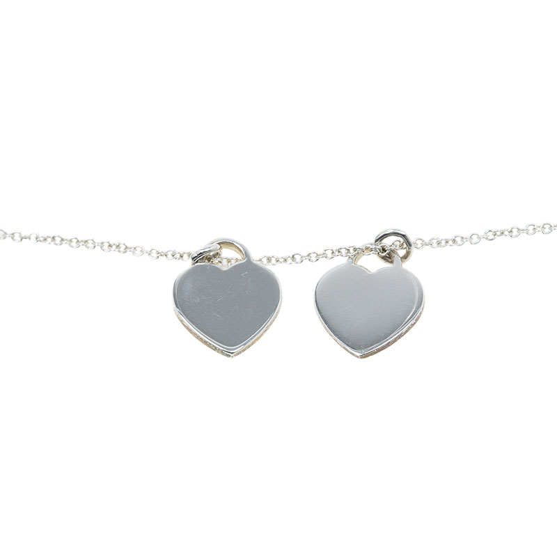 Tiffany & Co. Return To Tiffany Double Heart Tag Pink Pendant Necklace
