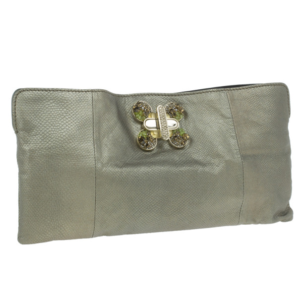 Chloe Metallic Leather Crystal Embellished Clutch