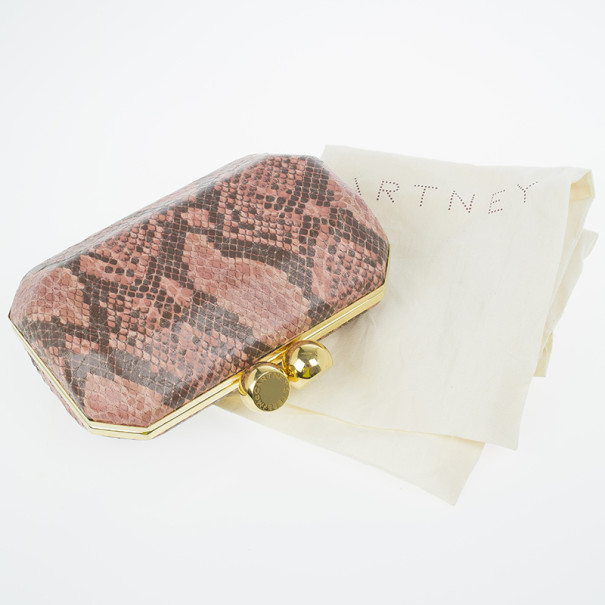 Stella McCartney Pink Faux Python Lucia Clutch